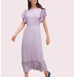 kate spade pleated crepe dress purple lilac 8 nwot